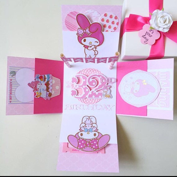 My Melody Birthday Explosion Box Card Etsy