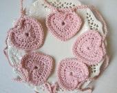 crochet heart garland, pink heart garland, crochet heart bunting, Valentines heart, nursery decoration, organic cotton, sustainable decor