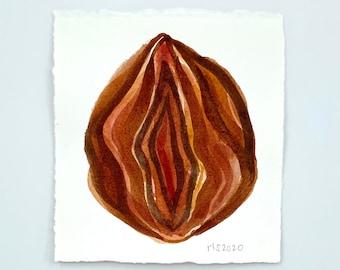 Audre / ORIGINAL Watercolor Painting Feminist LGBTQIA Labia Vagina Vulva Yoni Art Midwife Doula Gift Goddess Painting