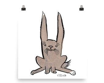 Hoppy Little Rabbit / Art Print Bunny Watercolor Illustration