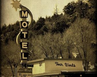 Vintage Motel Neon Sign Retro Home Decor Black and White Photography Fine Art Prints