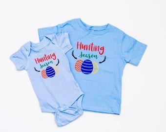 Baby and Toddler Easter Shirt or Bodysuit Hunting Season Egg Hunting Easter Shirt for Boys