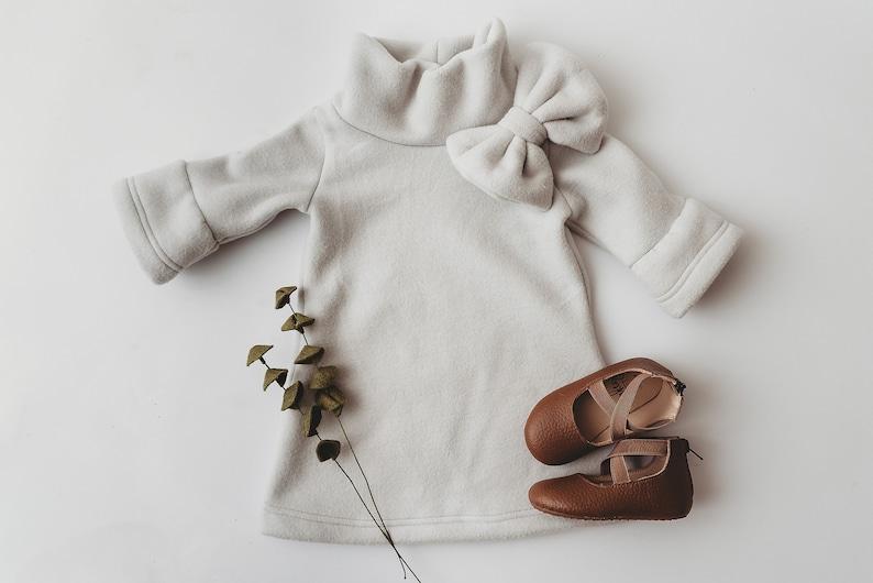 Girls Sweater Dress Polar Fleece A-line Dress with Bow image 0