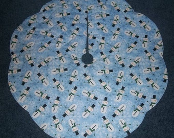 """Snowman tree skirt 30""""  glitter sparkly fabric accents SALE"""