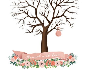 Sale! Now 8 dollars! for Instant download-  Baby Birth Tree Guest Book - Fingerprint - Baby Shower - 8.5x11 inches - printable JPEG - DIY