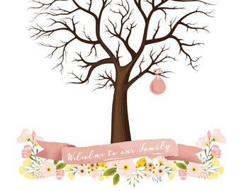 Sale! Now 8 dollars! for Instant download-  Baby Birth Tree Guest Book - Fingerprint - Baby Shower - 20x24 inches