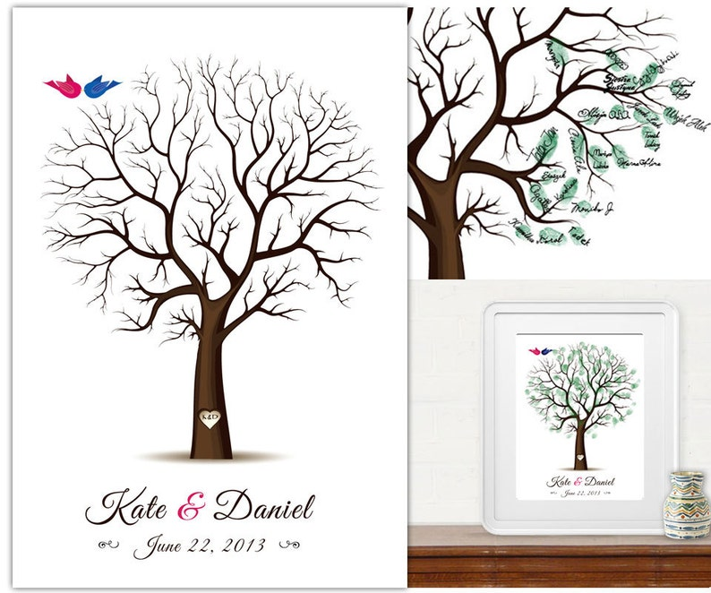 Wedding Tree Guest Book  Fingerprint tree   PDF FIle  any image 0