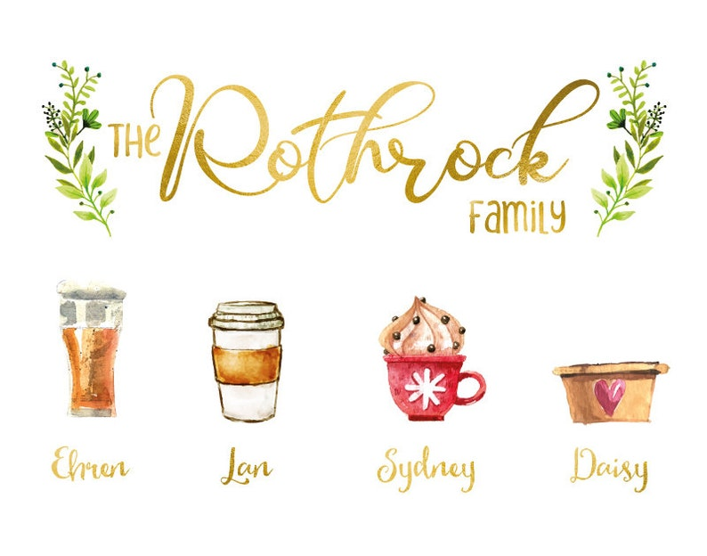 Christmas Gift Digital or print Family illustration image Unique Family Mugs Pots Cups Poster Customized family portrait Canvas