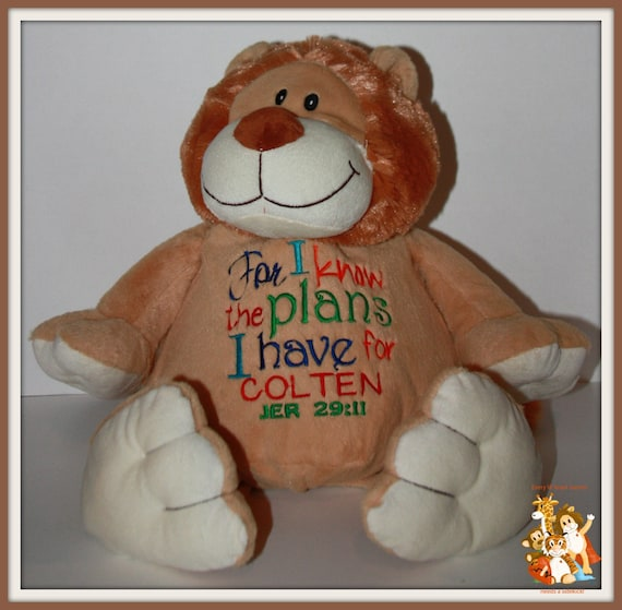 For I know the plans I have, Jer 29:11, stuffed animal