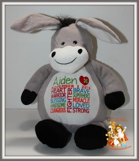 CHD personalized donkey Warrior Pet, stuffed animal