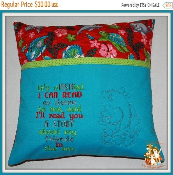 PILLOW SALE Reading Pillow,  pocket pillow, fish, sealife,turtles, dolphin,book