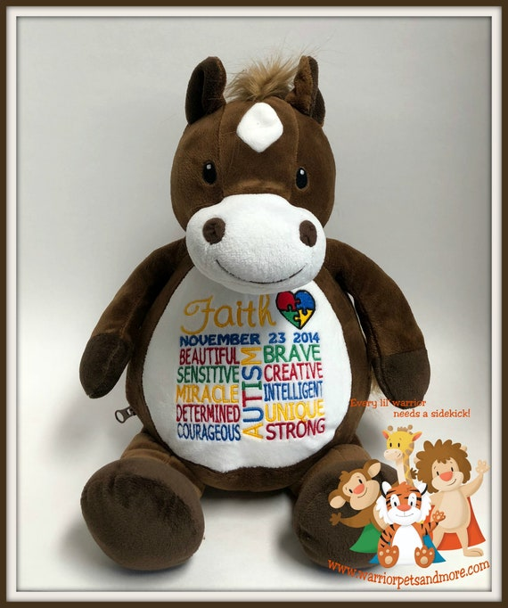 Autism, ADHD, SPD, Warrior Pet, personalized, stuffed animal. sensory processing disorder,
