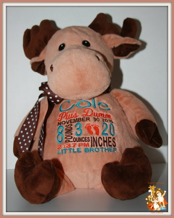 Baby, Moose, Birth Stat, Little Brother  Pets Personalized Moose, stuffed animal