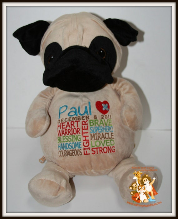 CHD, Pug, Warrior Pet, Stuffed Animal - customized with name and date of birth