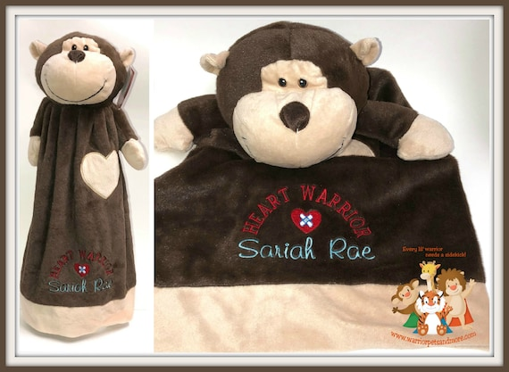 Personalized Heart Warrior Blankey Pet,  baby lovey, snuggly, blankey