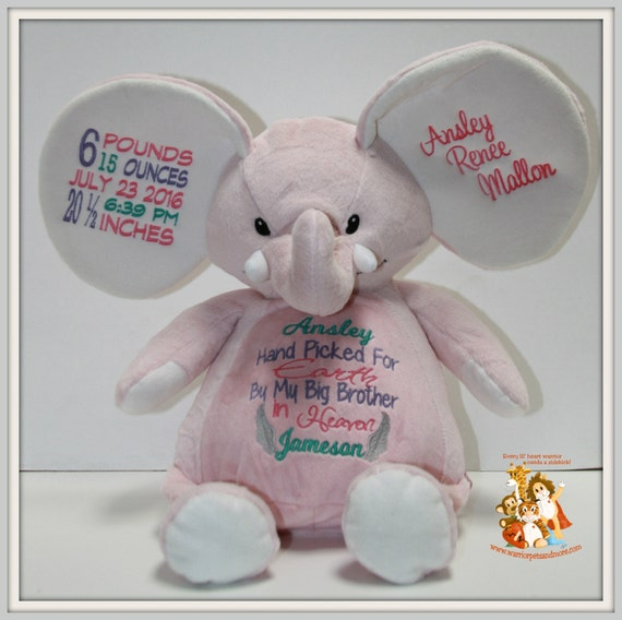 Handpicked for Earth by My Big Sister/Big Brother in Heaven, Birth Stat, personalized, stuffed pink elephant