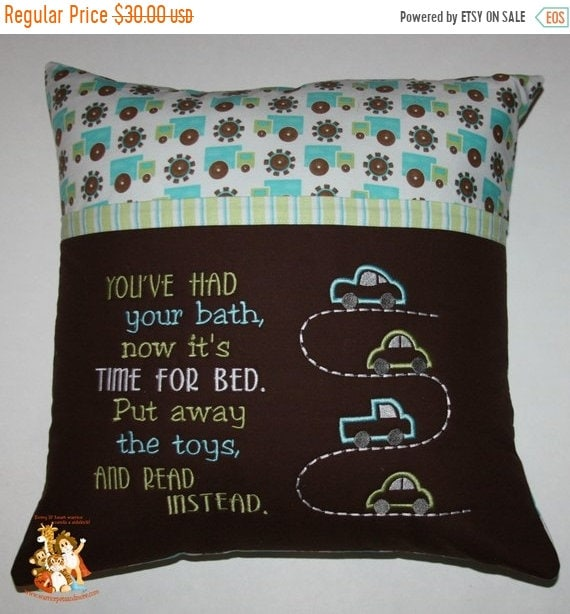 PILLOW SALE Reading Pillow,  pocket pillow, cars, boys, toys, book