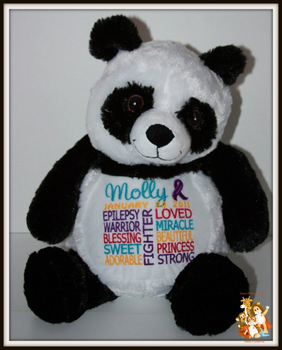 Epilepsy, Panda Warrior Pet Stuffed Animal - customized with name and date of birth