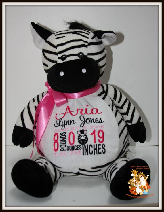 Zebra, Birth Stat Pets Personalized Stuffed Animal