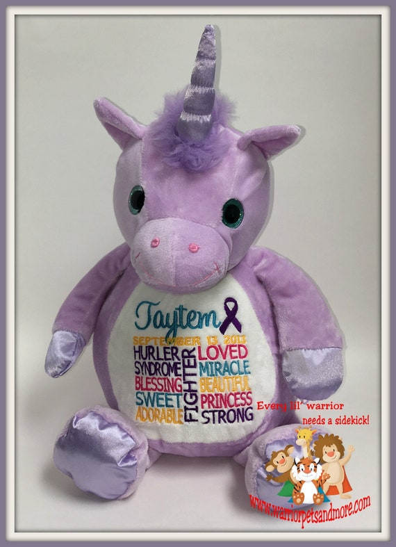 Unicorn, Hurler Syndrome,  personalized  Warrior Pet, stuffed animal