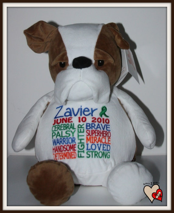 Cerebral Palsy,  personalized Bulldog, Warrior Pet, stuffed animal