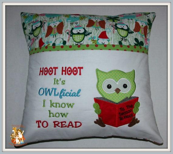 Reading Pillow, Owl, Hoot hoot, christmas, pocket pillow,