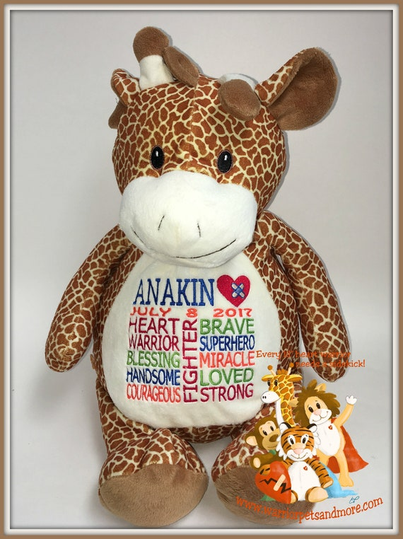 CHD, Giraffe Warrior Pet, personalized, stuffed animal