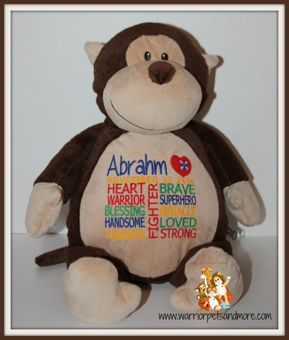 CHD, personalized Monkey, Warrior Pet, stuffed animal, Heart Warrior