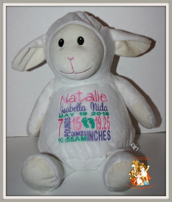 Baby, Birth Stat Pets, Personalized Lamb, stuffed animal