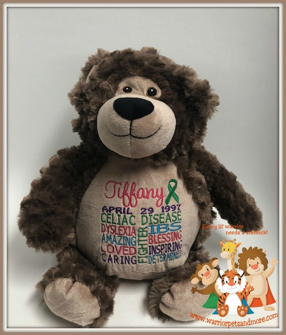 Celiac Disease, Warrior Pet, personalized, teddy bear