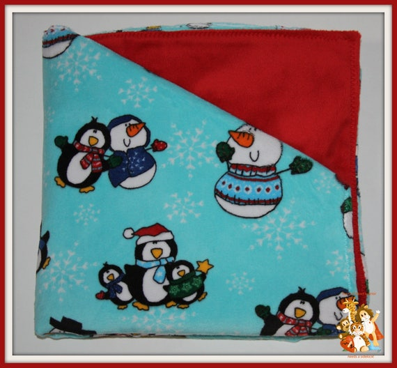 Minky Blanket - Penguins and Snowman