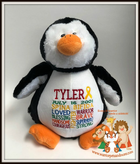 Spina Bifida,  personalized  Warrior Pet, stuffed animal