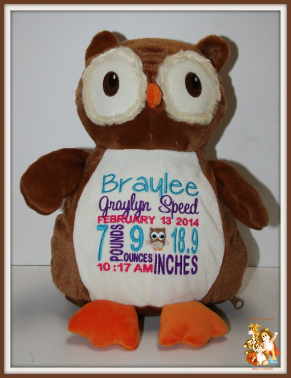 Baby, Birth Stat Pets, Personalized Owl