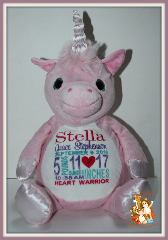 CHD Baby, Birth Stat Pets, Personalized  stuffed animal, Heart Warrior, unicorn, giraffe, elephant