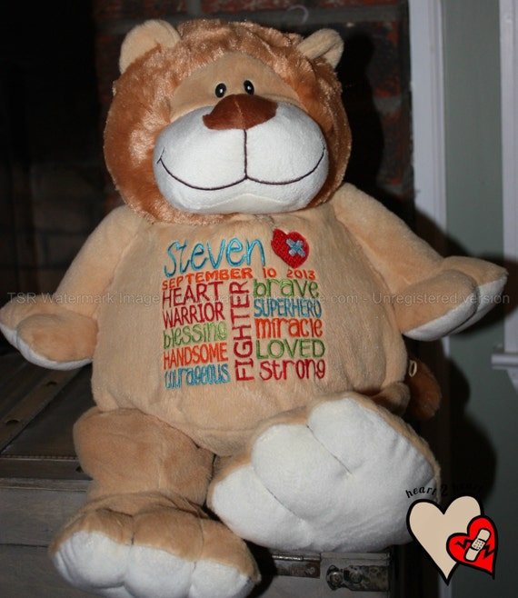 CHD personalized lion Warrior Pet, stuffed animal