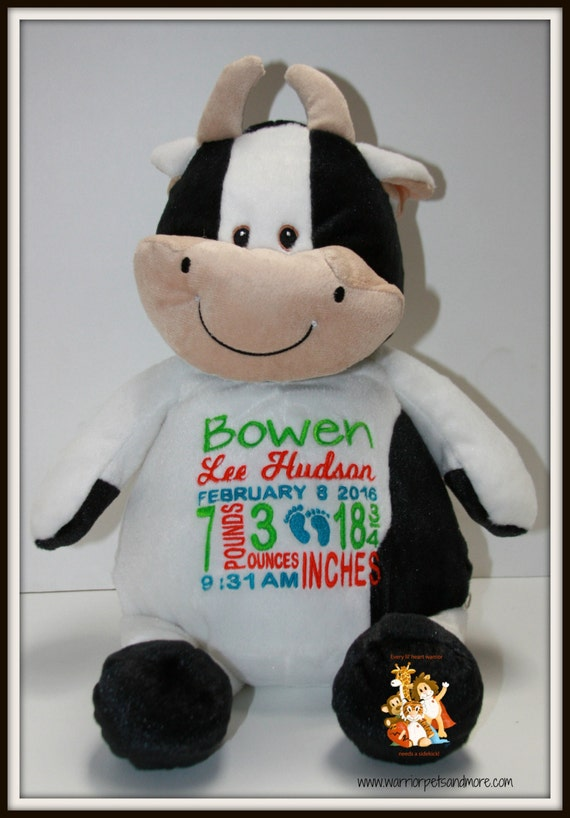 Cow, Birth Stat Pets Personalized Stuffed Animal