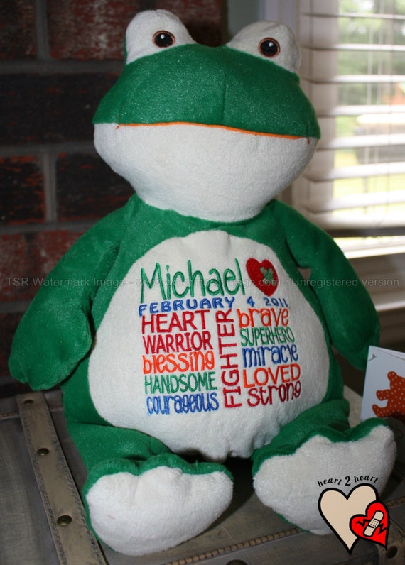 CHD personalized Frog Warrior Pet, stuffed animal