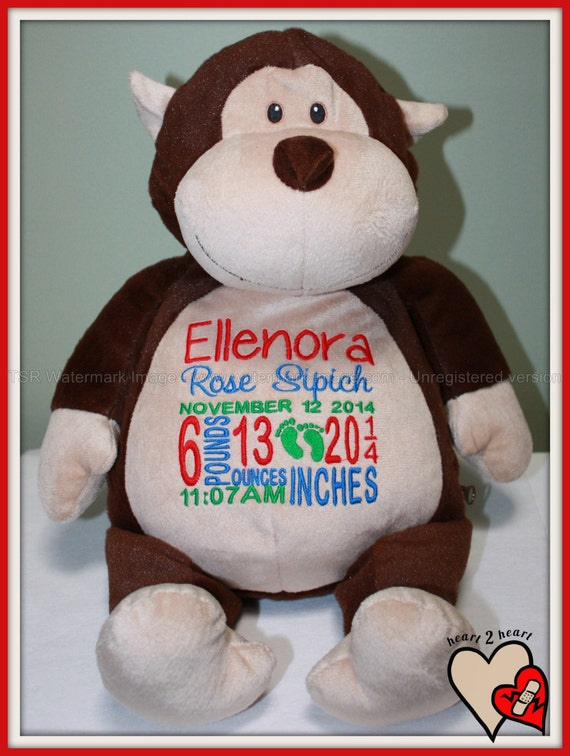 Baby, Monkey, Birth Stat,  Pets Personalized Monkey, stuffed animal