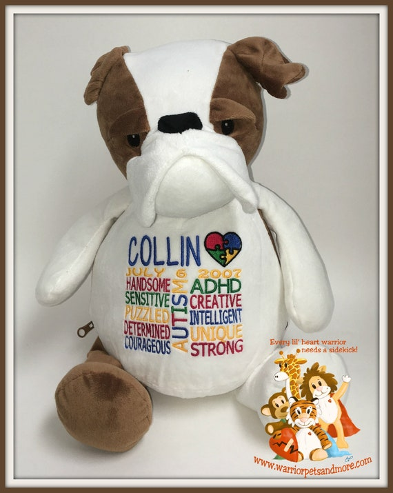 AUTISM, ADHD, Warrior Pet, Stuffed Animal - customized with name and date of birth