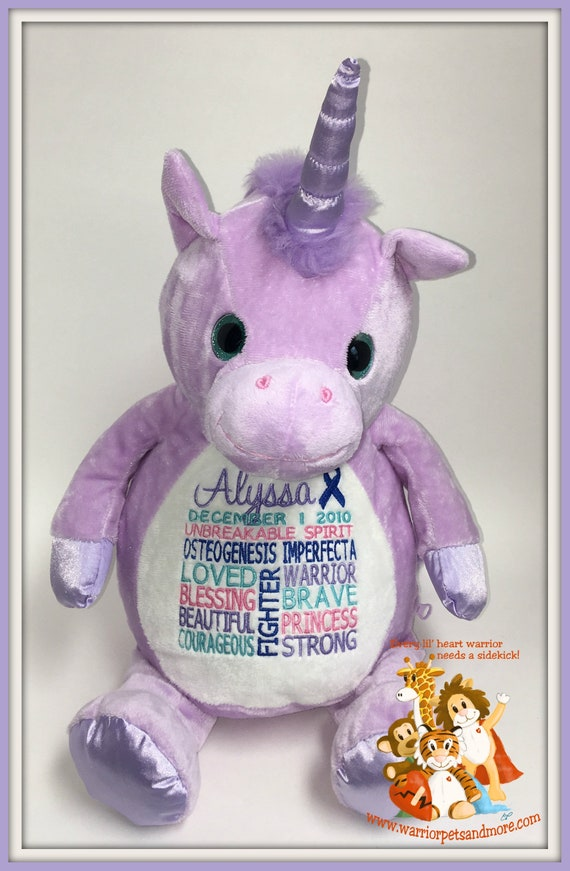 Unicorn, Osteogenesis Imperfecta,  personalized Unicorn Warrior Pet, stuffed animal