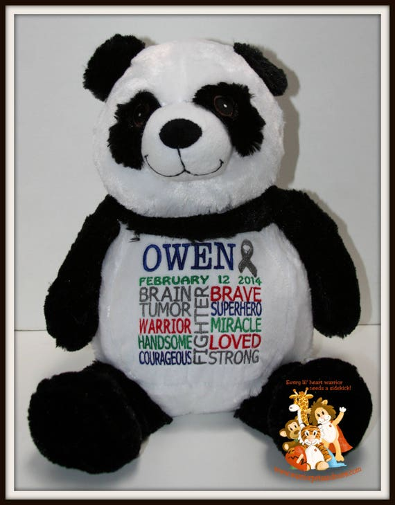 Brain tumor, Panda Warrior Pet Stuffed Animal - customized with name and date of birth