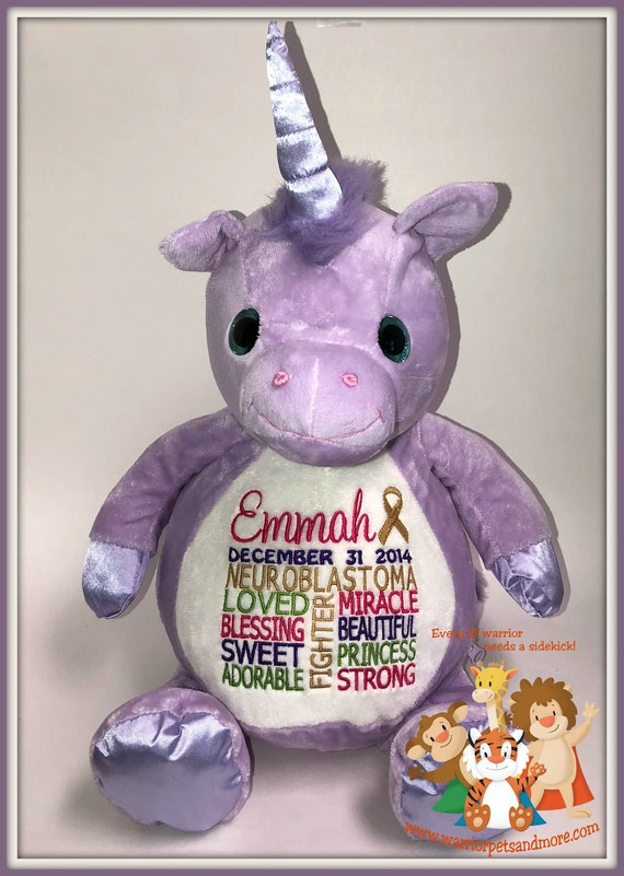 Unicorn, Neuroblastoma,  personalized  Warrior Pet, stuffed animal
