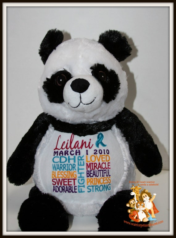Panda, CDH,  personalized Panda Warrior Pet, stuffed animal