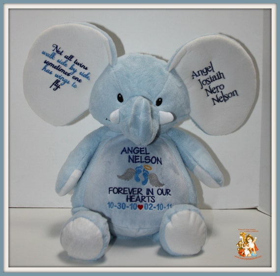 In Memory of, Angel, pets, Forever in our hearts,  memorial gift, pink or blue elephant