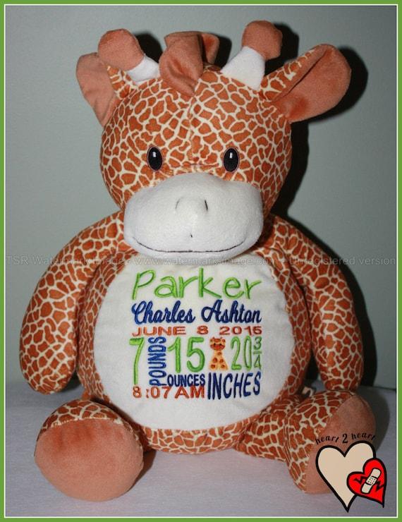 Baby, Birth Stat Pets, Personalized Giraffe, stuffed animal