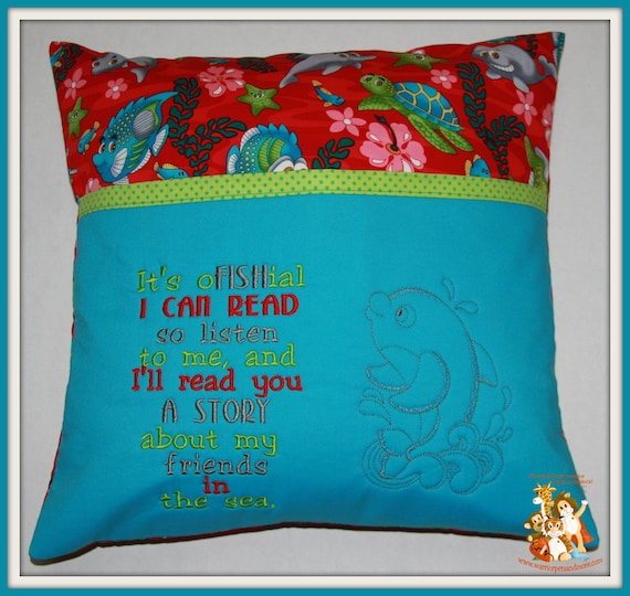Reading Pillow,  pocket pillow, fish, sealife,turtles, dolphin,book