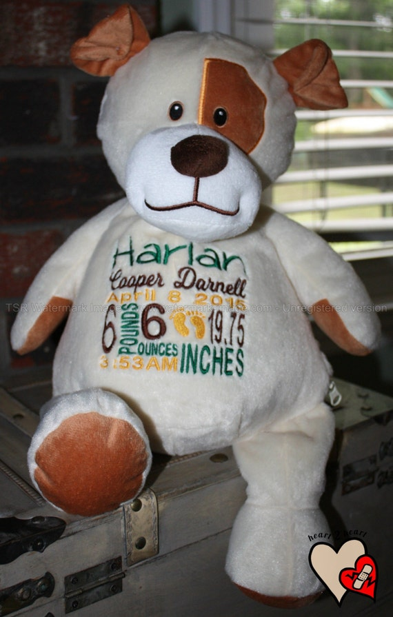 Birth Stat Pets Personalized Stuffed Animal Puppy