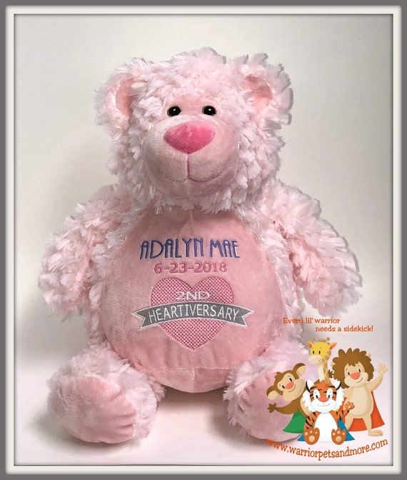 Heartiversary CHD, Bear, Heart Warrior Pet, personalized, stuffed animal