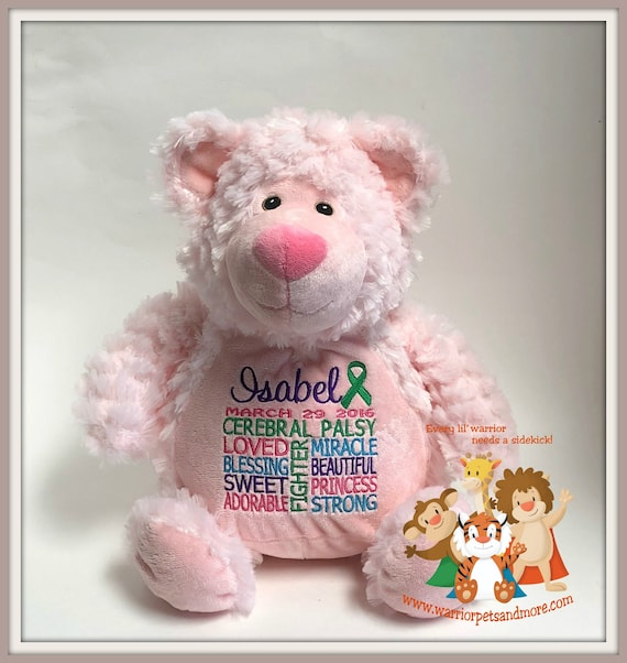 Cerebral Palsy,  personalized Bear, Warrior Pet, stuffed animal