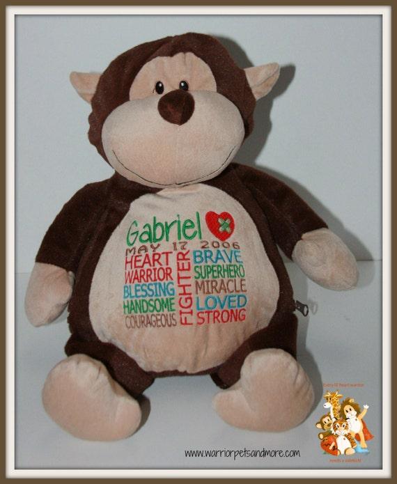 Monkey, CHD,  personalized monkey Warrior Pet, stuffed animal